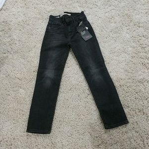 724 High-Rise Straight cropped Levi's black jeans